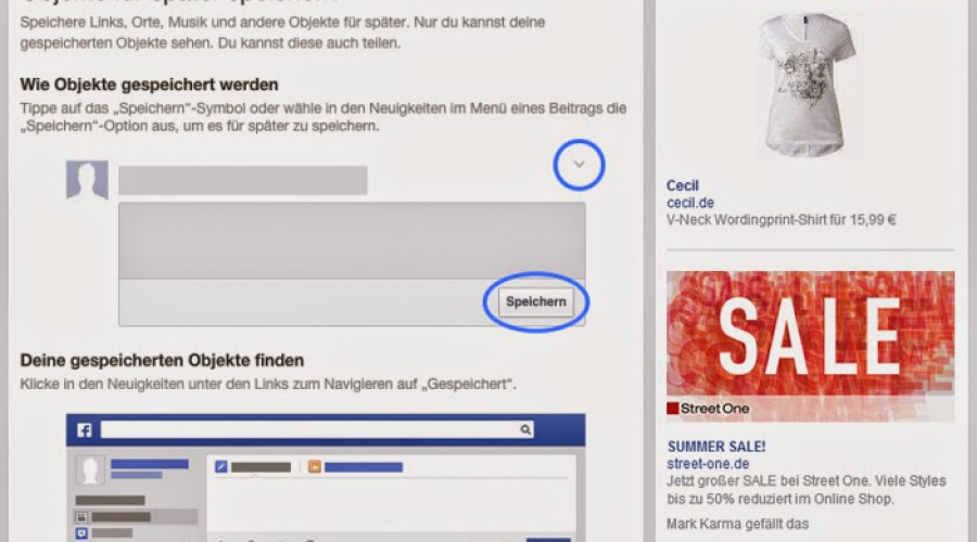 Bookmarkfunktion auf Facebook